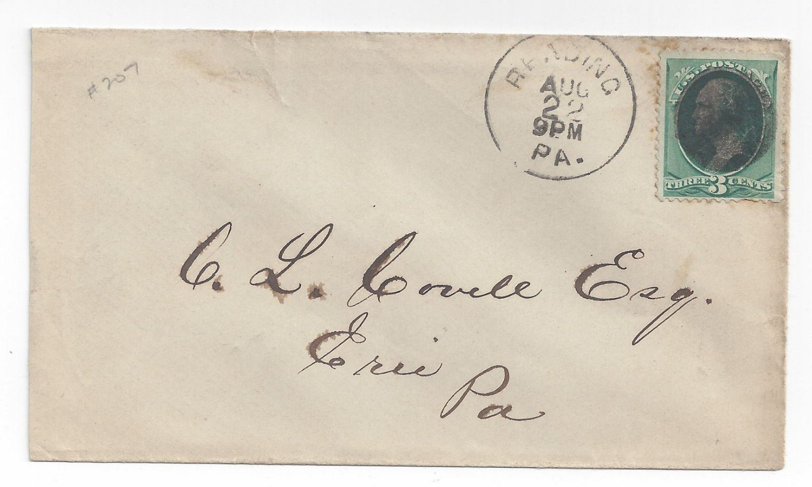 19th Century Cover Reading PA Fancy Cancel Solid Obliterator Bullseye placement