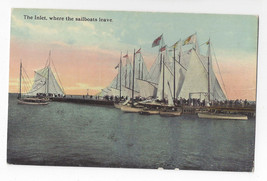 Atlantic City NJ Inlet where Sailboats Leave Sailing Vintage ca 1910 Pos... - $7.49