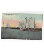Atlantic City NJ Inlet where Sailboats Leave Sailing Vintage ca 1910 Pos... - $7.49