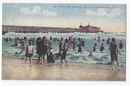 CA Long Beach Bathing Scene Bathers Surf Pier Vintage Postcard - $7.56