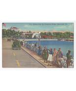 Clearwater FL Fishing from Causeway Bridge 1951 Curteich Linen Postcard - $4.99