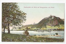Germany Drachenfels mit Blick auf Konigswinter und Rhine Vtg Postcard c ... - $7.56