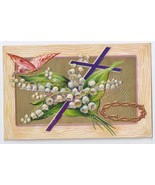 Vintage Easter Postcard 1910 Embossed Gilded Butterfly Cross Lily of Valley - $6.49