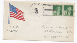 Naval Cover USS Gregory APD-3 1941 Flag Cachet Sunk Guadalcanal 1942 - $6.49