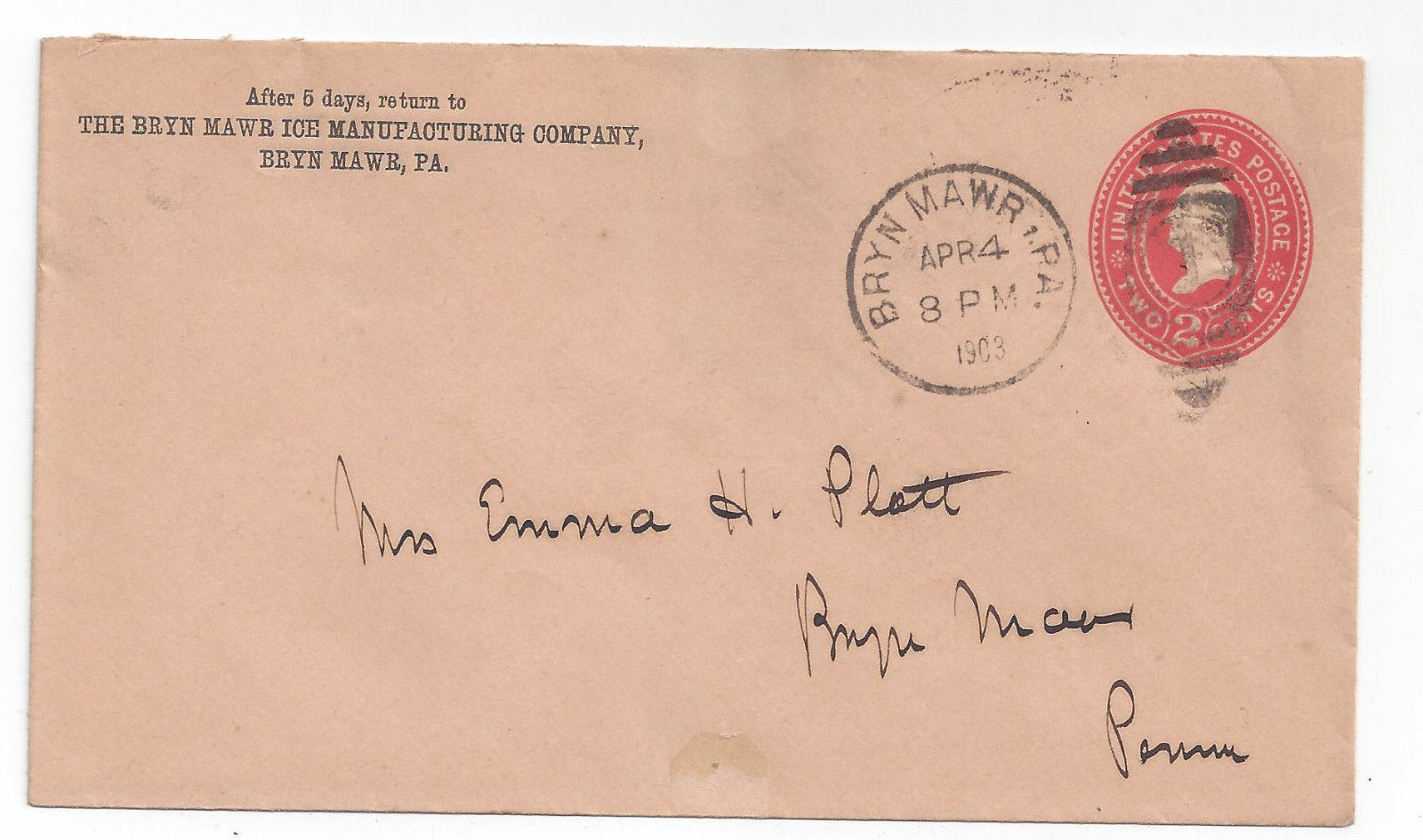 1903 Commercial Cover U364 Bryn Mawr Pa Duplex Ice Manufacturing