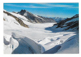 Switzerland Jungfraujoch Bernese Alps Aletsch Glacier Vtg Postcard - $6.49