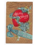 Valentine Postcard Gold Hearts Background Glitter Vintage Embossed BB Lo... - $6.49