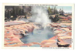 WY Yellowstone National Park Oblong Geyser Crater Vtg Haynes Linen Postcard - $6.49