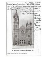 Reading PA St Peters Roman Catholic Church Vtg UDB 1906 Postcard - $4.84