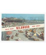 NJ Wildwood Hello Amusement Pier Beach Umbrellas Vintage 1961 Postcard - $5.52