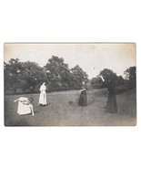 Victorian Women Playing in Field Vintage Real Photo Postcard ca. 1910 RPPC - $4.84