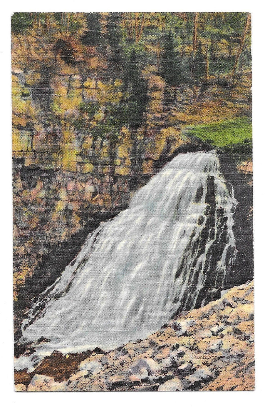 WY Yellowstone National Park Rustic Falls Golden Gate Canon Vtg Linen Postcard