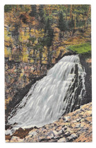 WY Yellowstone National Park Rustic Falls Golden Gate Canon Vtg Linen Po... - $4.84