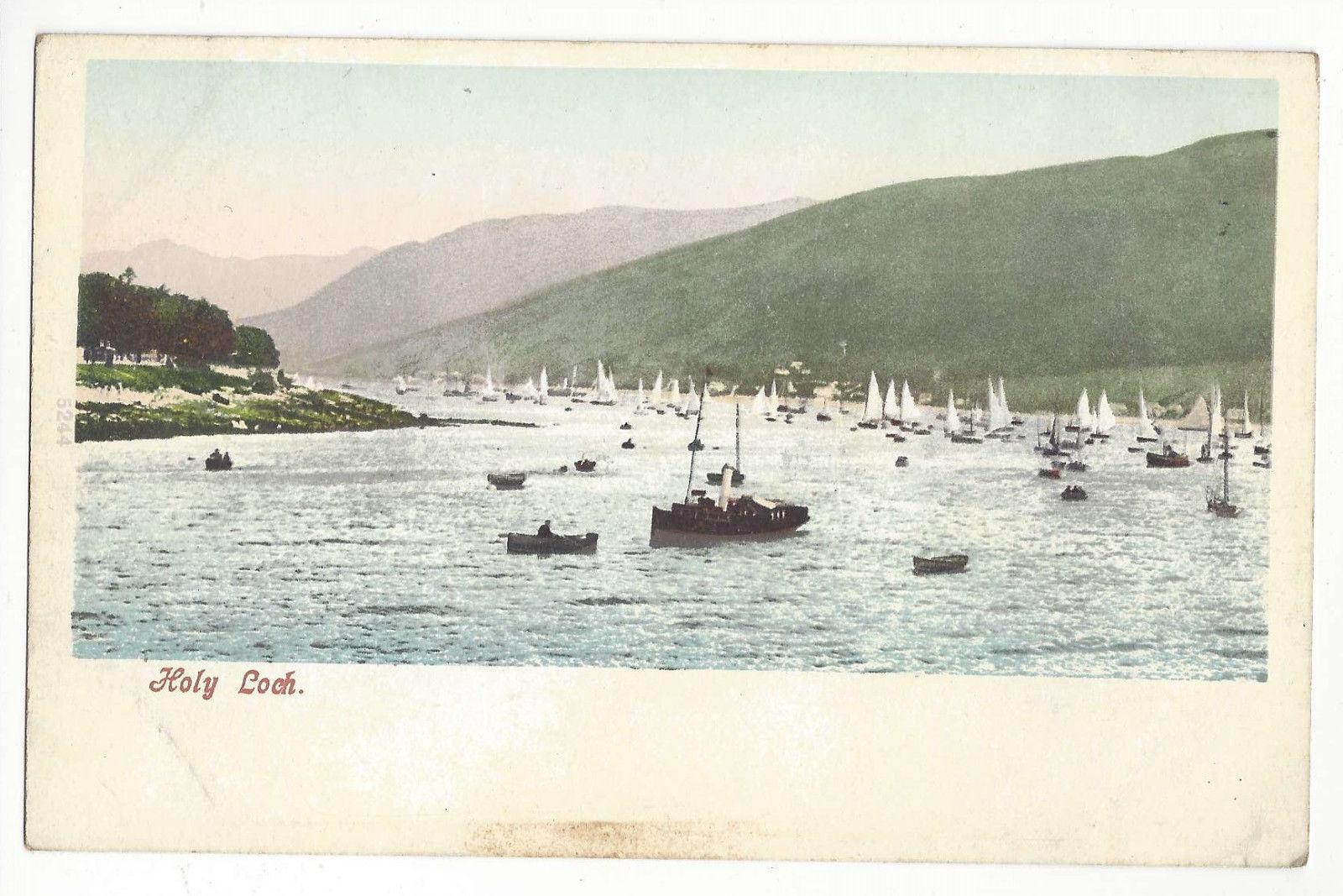 Scotland Holy Loch Sail Boats Argyll and Bute Vtg Postcard c 1905