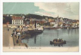 France Trouville Le Bac de Deauville Ferry Steamship Vtg Lucien Levy Pos... - $4.99