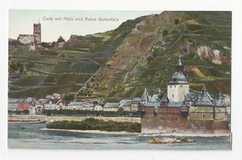 Germany Caub mit Pfalz und Ruine Gutenfels Castle Rhine Vtg Postcard c 1910 - $5.52