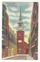 MA Boston Old North Church Salem Street Vtg 1950s Linen Postcard - $5.52