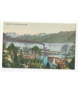 Switzerland Territet Le Port et les Dents du Midi Steamer Vtg Postcard c... - $9.65
