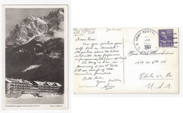APO 757 Germany Waxenstein Eibsee Hotel Alps Hans Huber 1952 Postcard - $9.65
