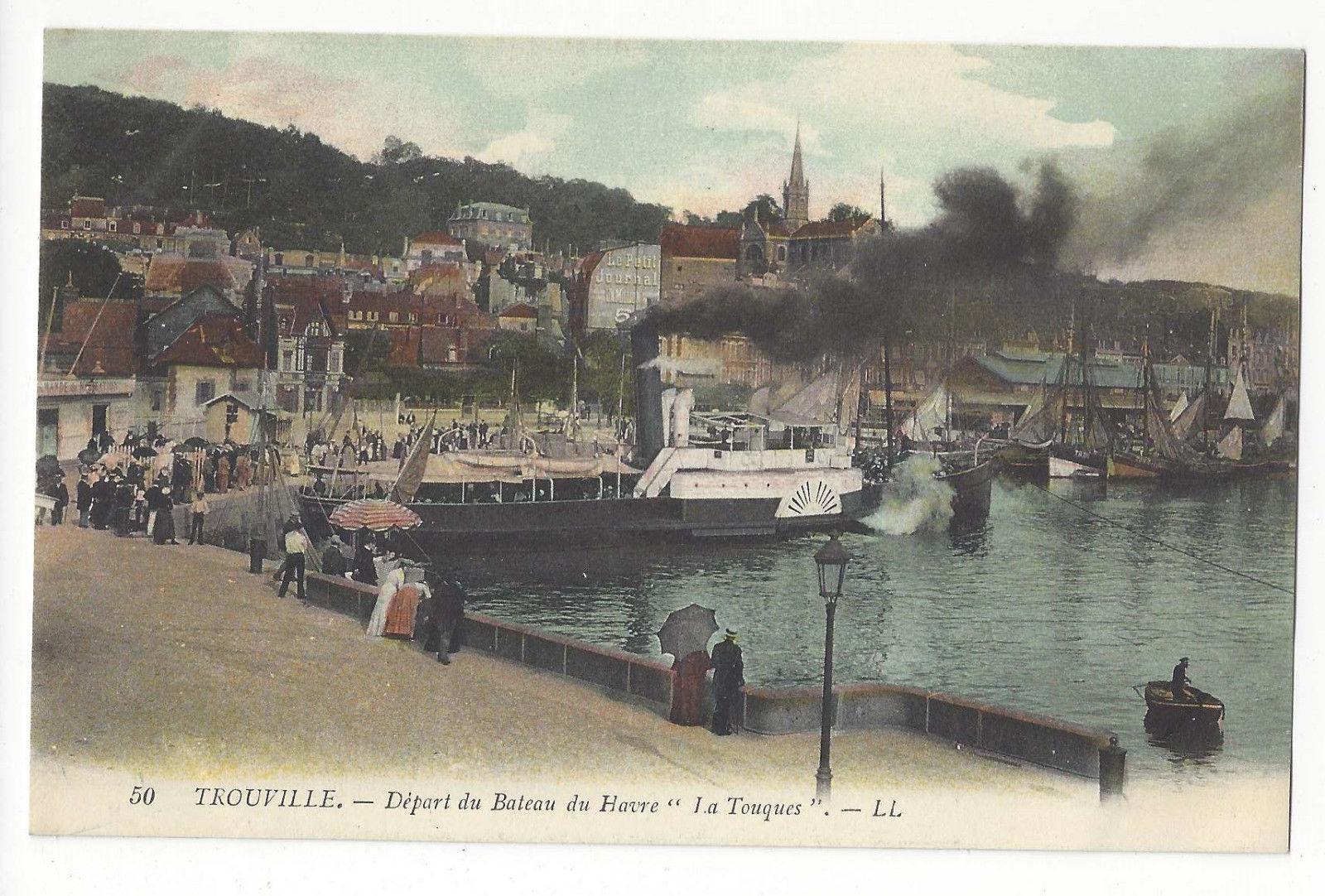 France Trouville Depart du Bateau du Havre La Touques Steamship Harbor Postcard