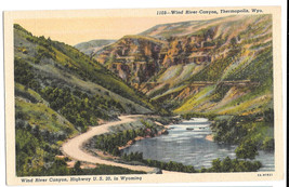 WY Thermopolis Wind River Canyon Highway US 20 Vtg Linen Postcard Wyoming - $6.99