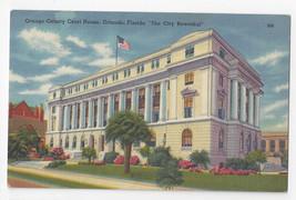 Orlando FL Orange County Court House Vintage 1956 Tichnor Linen Postcard - $5.52
