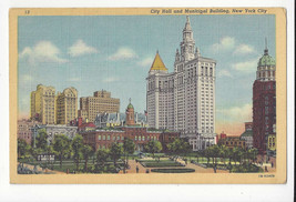NY New York City Hall and Municipal Building Vtg 1941 Linen Postcard - $4.99
