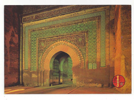 Morocco Maroc Meknes Bab el Khemis Night Vtg Postcard 4X6 - $5.52