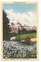 WA Ranier National Park Tatoosh Range Avalanche Lilies Vtg Linen Postcard - $5.52