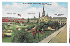 LA New Orleans Jackson Square Buildings Landmarks Vintage Kropp Linen Po... - $5.81