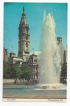 Philadelphia PA City Hall 1976 Fountain Vintage Postcard - $4.84