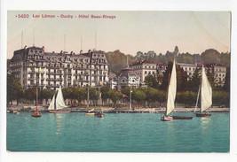 Switzerland Ouchy Lac Leman Hotel Beau Rivage Sailboats Vtg Postcard c 1910 - $6.69