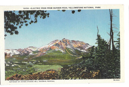 WY Yellowstone Park Electric Peak From Bunsen Peak Vtg Haynes Postcard W... - $6.99