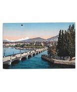 Switzerland Geneve Geneva Pont du Mont Blanc Vtg Julien Freres Postcard - $5.52