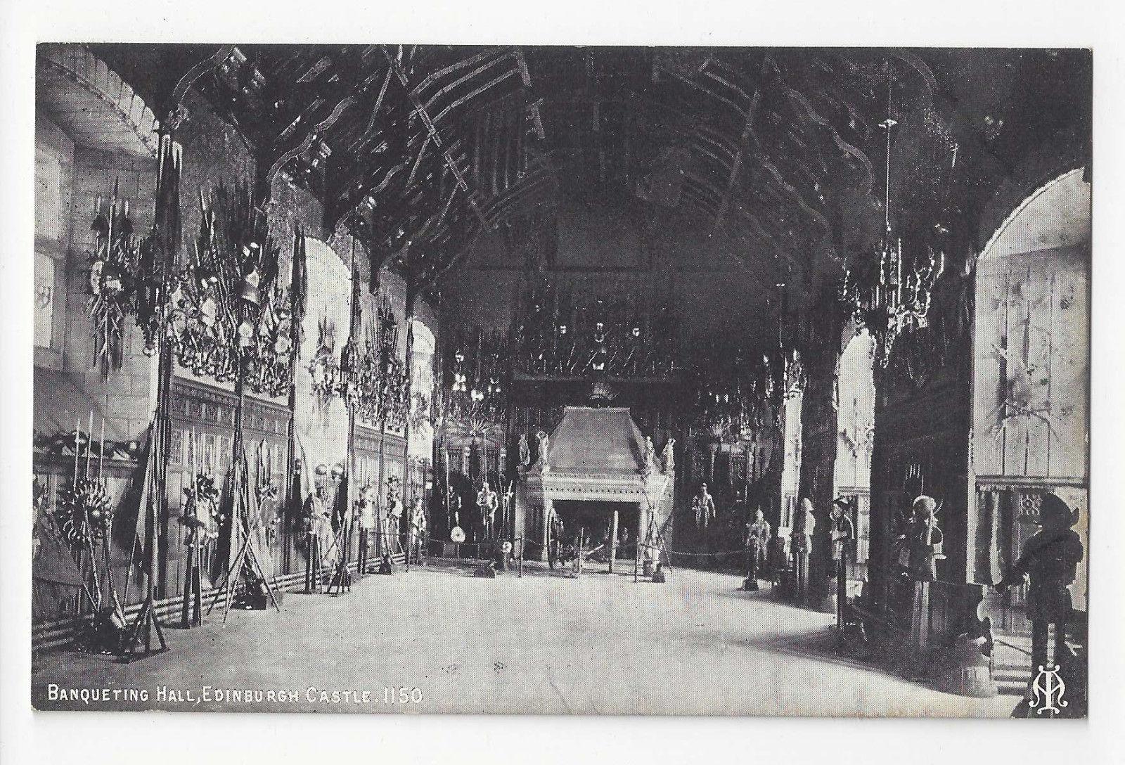 Scotland Edinburgh Castle Banqueting Hall Vtg Inglis Postcard