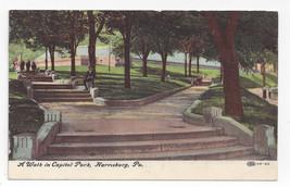 Harrisburg PA Capitol Park Walk 1908 Vintage Postcard - $5.52