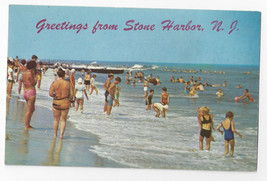 Stone Harbor NJ Greetings Beach Bathers Swimmers Surf Vintage Postcard - $5.99