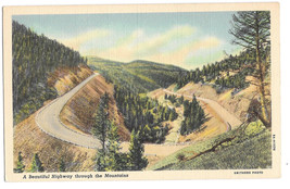 WA Highway through Mountains Vtg Curteich Linen Postcard Washington View - $5.52
