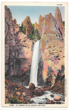 WY Yellowstone Park Tower Falls Vtg Haynes Linen Postcard Wyoming - $5.52