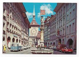 Berne Switzerland Market Street ClockTower Marktgasse Vintage Postcard 4X6 - $4.84