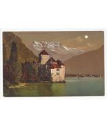 Switzerland Chateau Chillon Castle Dents du Midi Night Vtg Postcard c1910 - $5.52