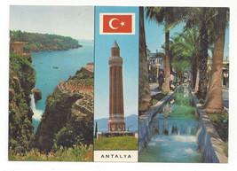 Turkey Antalya Yivli Gooved Minaret Women Cliff Multiview Vtg Postcard 4X6 - $6.49