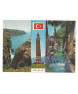 Turkey Antalya Yivli Gooved Minaret Women Cliff Multiview Vtg Postcard 4X6 - $4.99