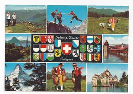 Switzerland Multiview Coats of Arms Schweiz Suisse Vintage Postcard 4 X 6 - $5.52