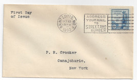Sc# 734  FDC Kosciuszko 1933 First Day Cover St Louis Cancel - $5.52