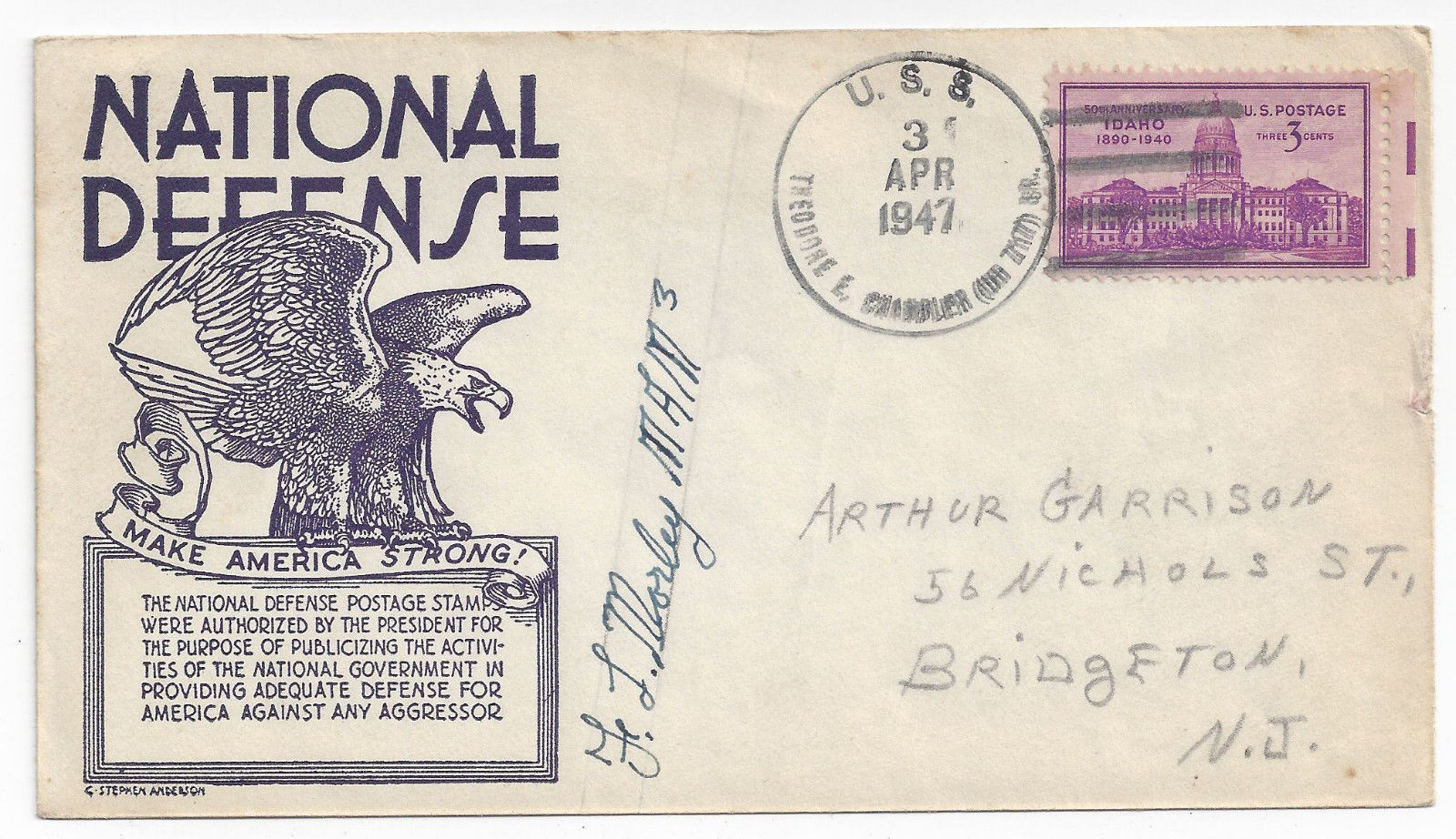 USS Theordore E. Chandler DD-717 Destroyer 1947 Naval Cover Anderson Cachet