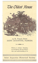 Saint Augustine Florida Oldest House Vintage Brochure 1958 - $5.52