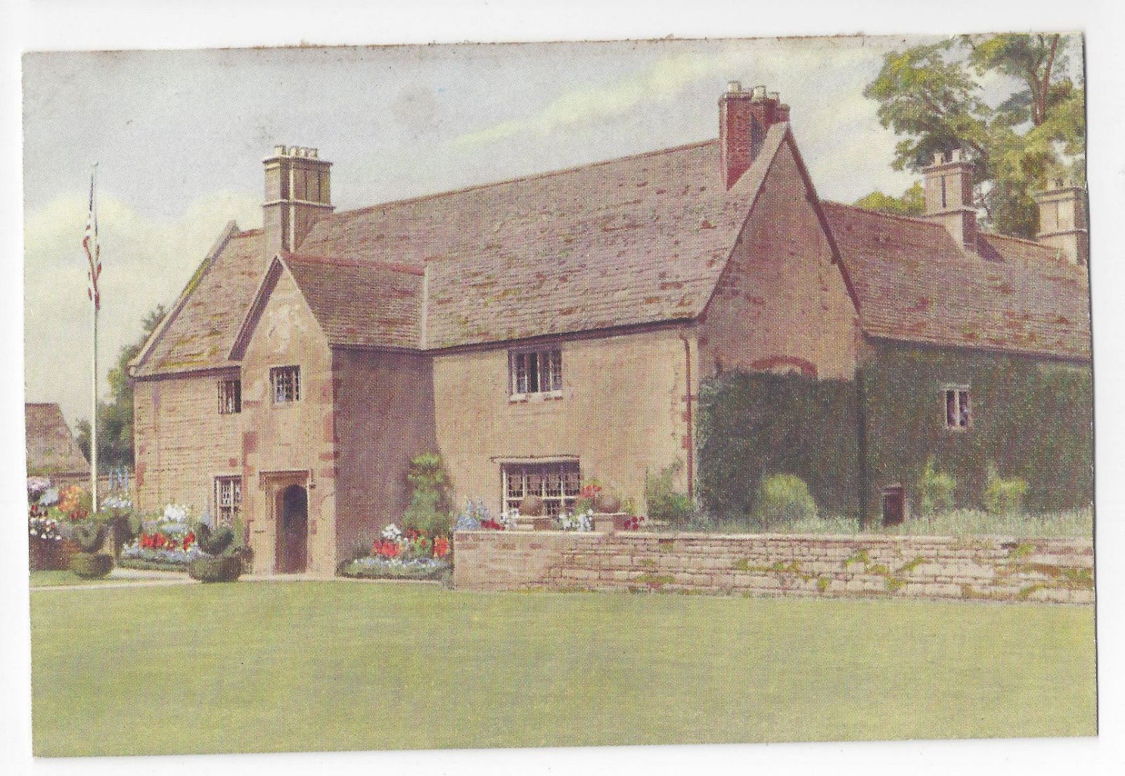 UK England Sulgrave Manor View from Lawn George Washington Vtg Postcard