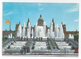 Spain Barcelona Magic Fountain of Montjuic Fuentes Monumental Vtg Postca... - $5.52