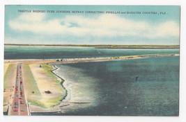 FL Trestle Bridges Skyway Connect Pinellas Manatee Counties Linen Postcard - $5.52